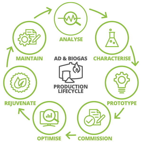 Biogas production lifecycle diagram